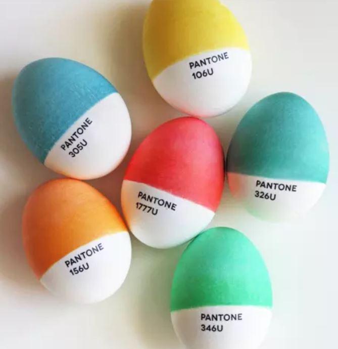 pantone painted eggs