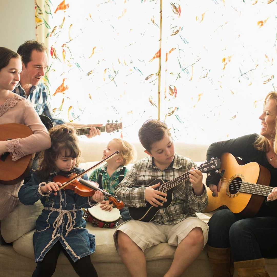 family playing music