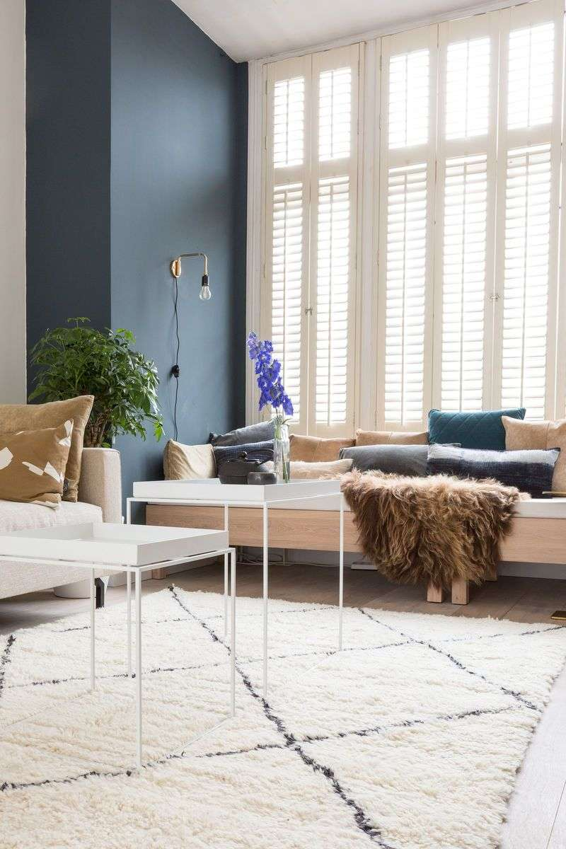 modern decor with white venetian blinds