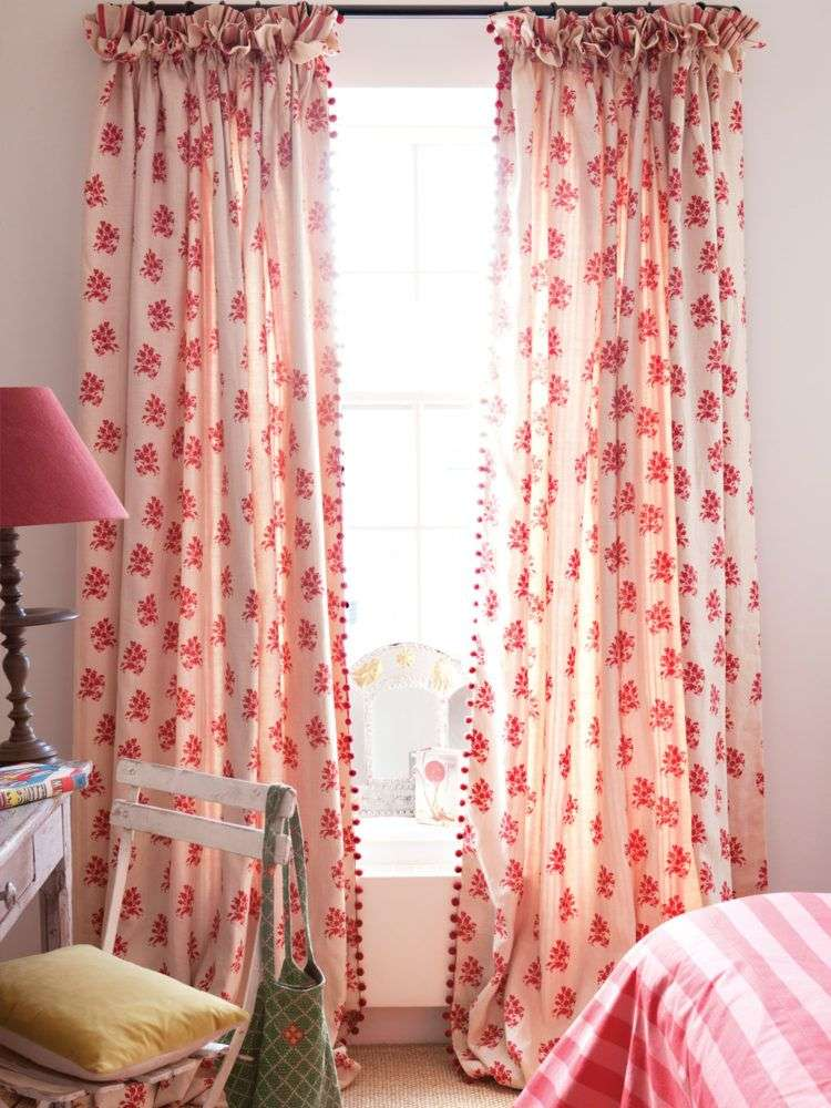 kate forman red floral curtains