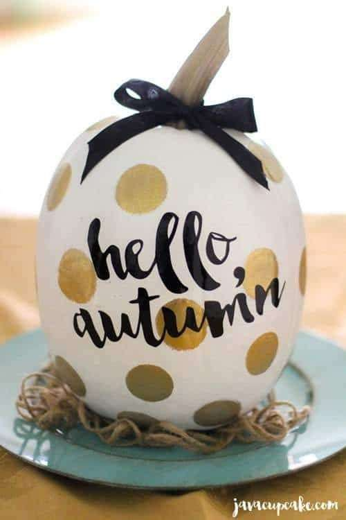 gold spot painted pumpkins