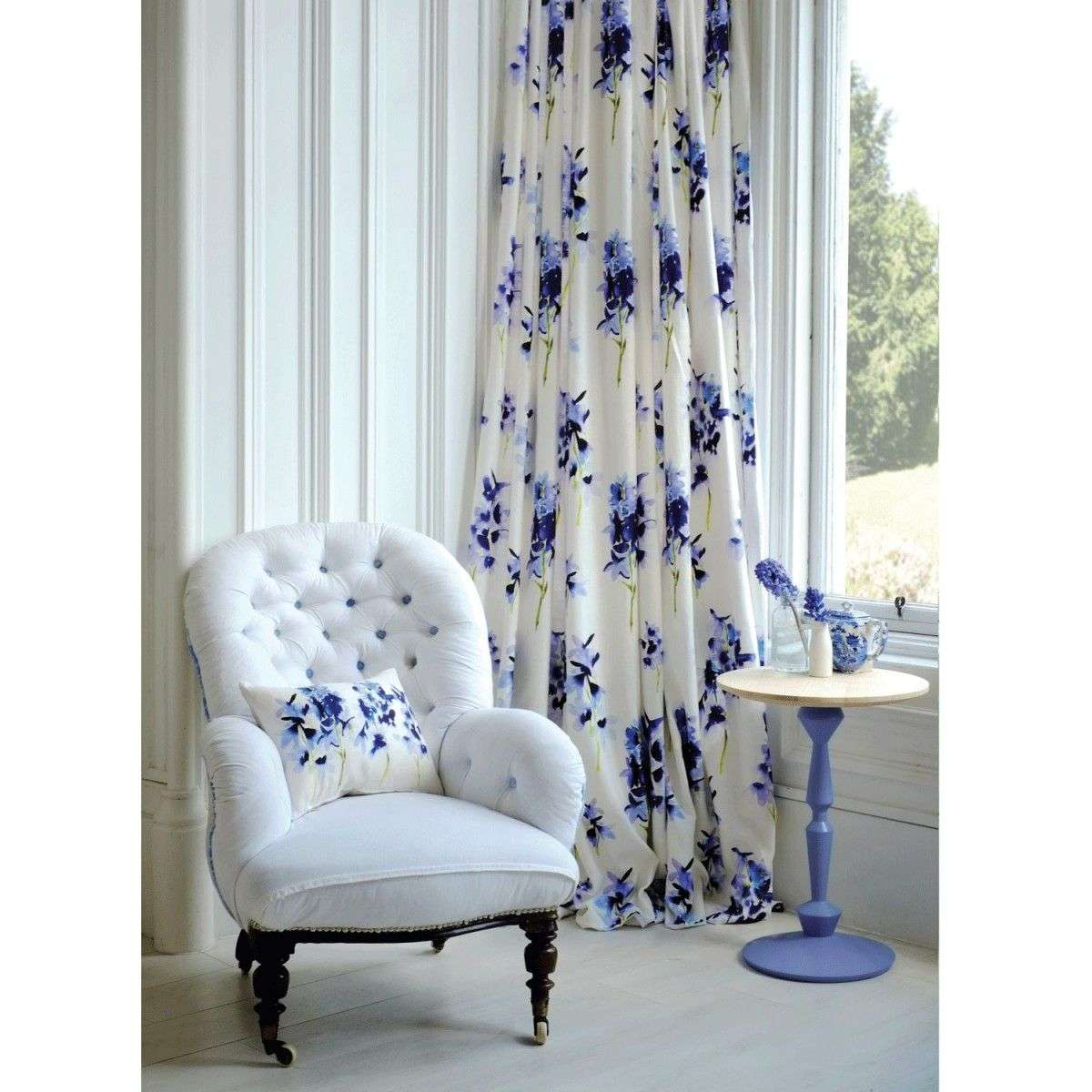 blue bell gray delphinium fabric