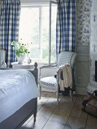 gingham check cottage curtains