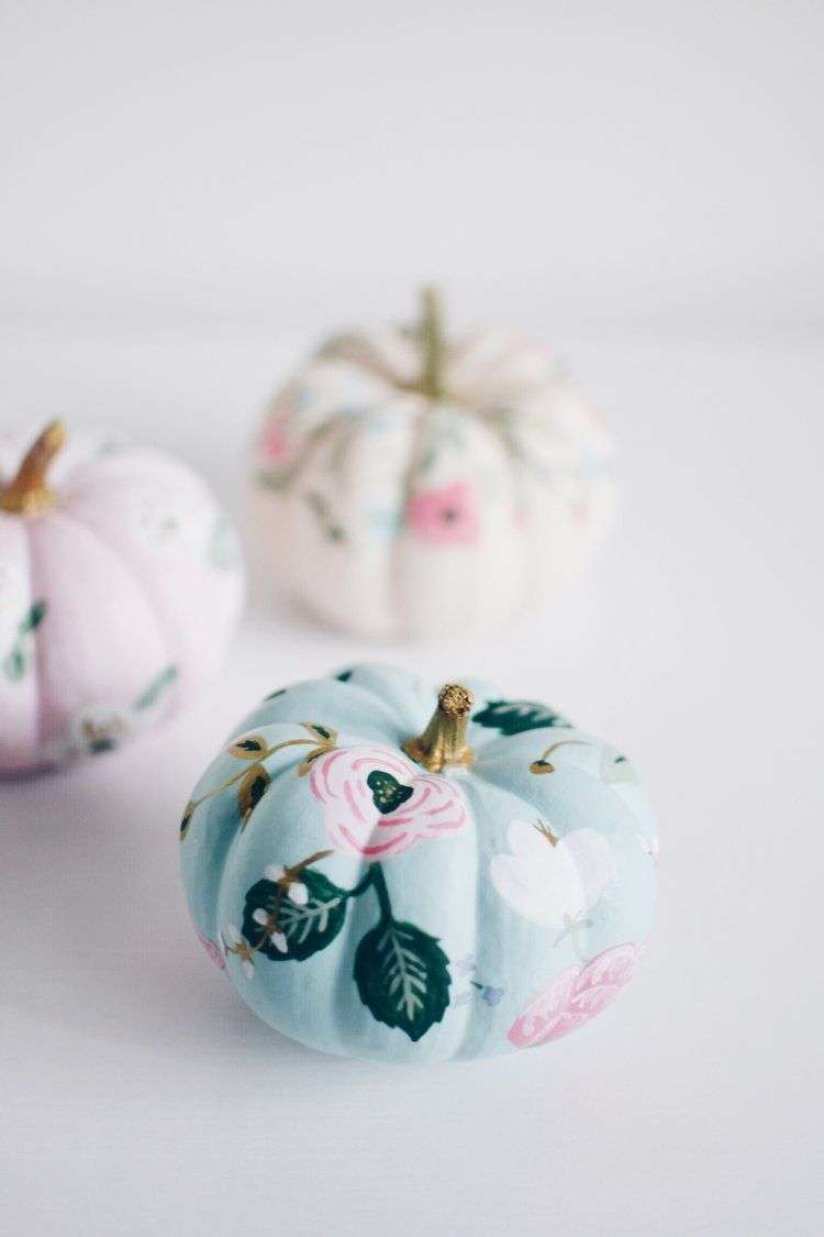pretty floral painted pumpkins