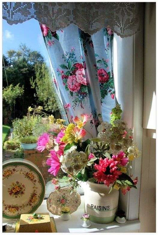 pretty blue and pink rose kitchen curtains