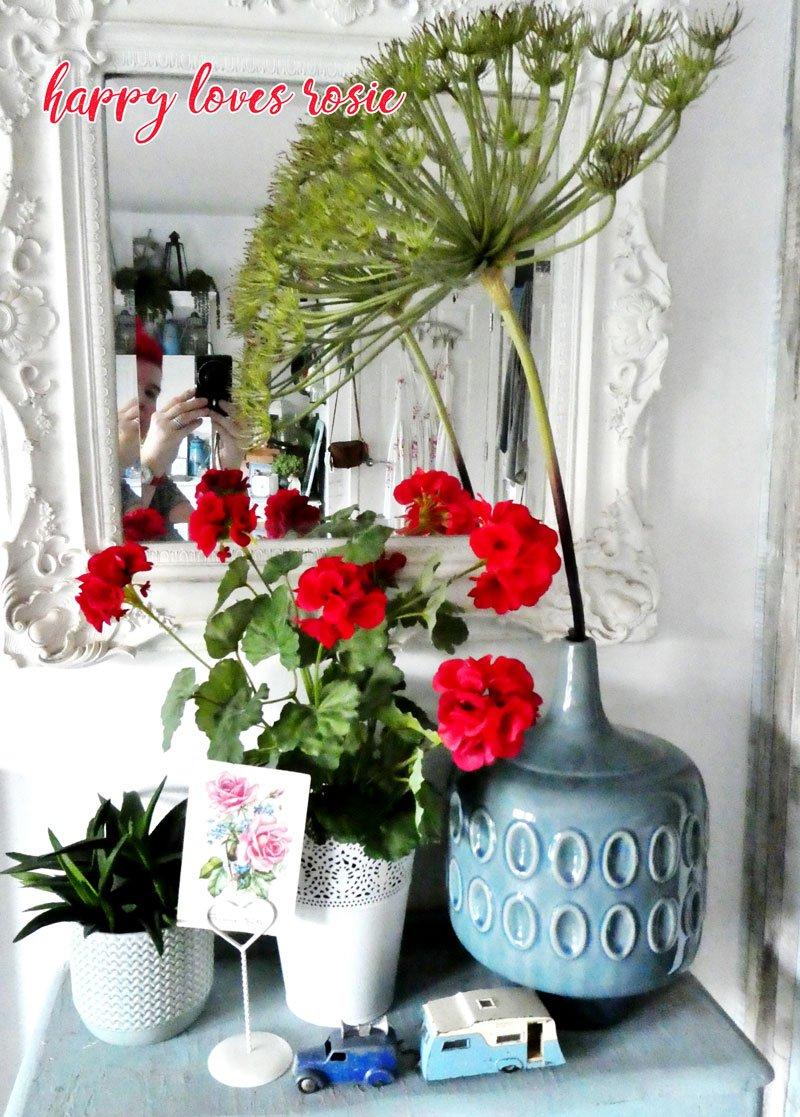 dinky caravan and red geraniums