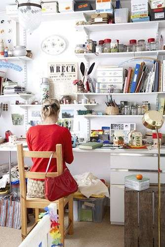 woman sitting on chair in craft room