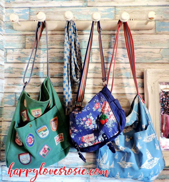 cath kidston bags hanging on peg
