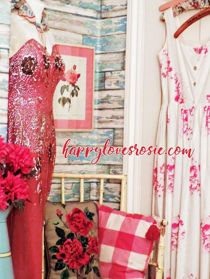 vintage dresses in a bedroom