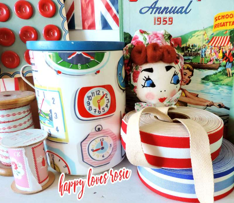 Land Girl brooch and cath kidston jar