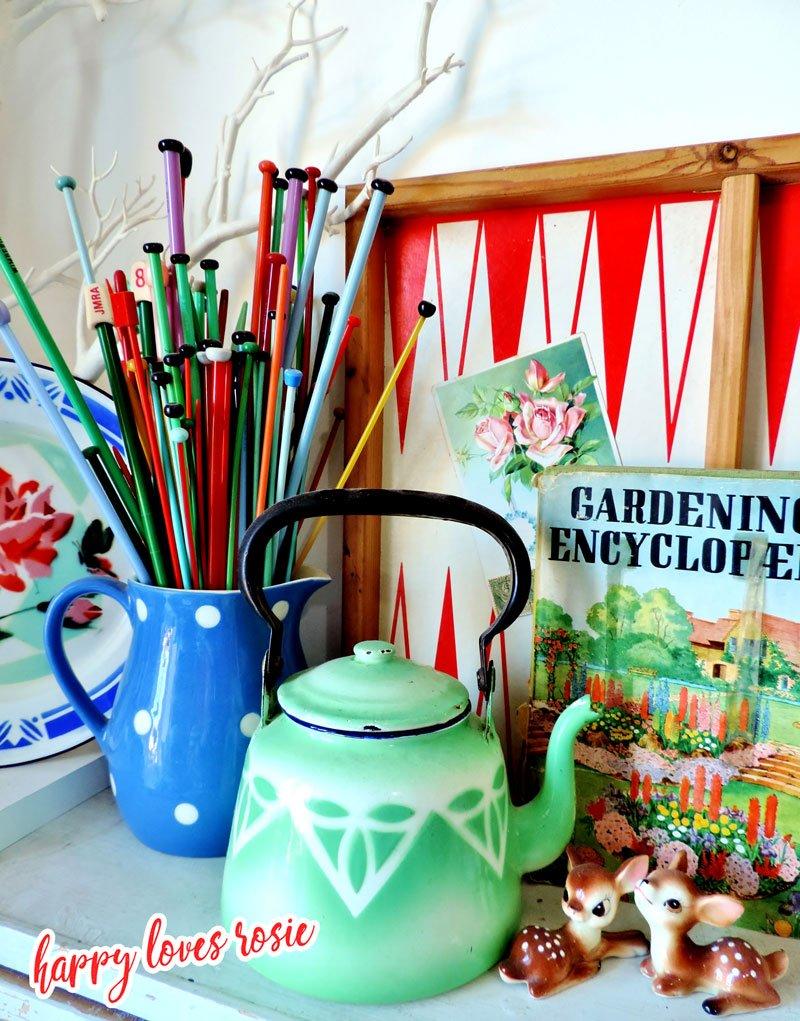 vintage enamel kettle and knitting needles
