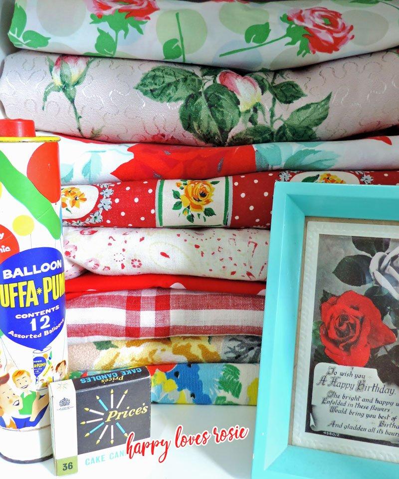 vintage rose fabric and happy birthday sundries