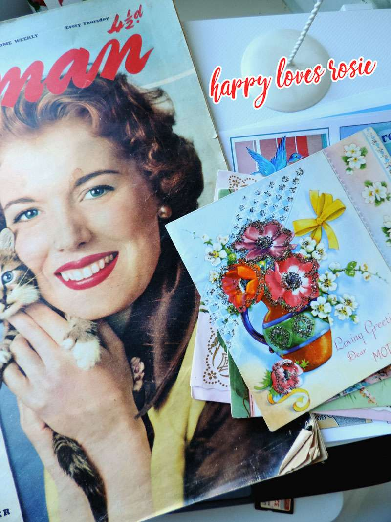 vintage woman magazine and cards