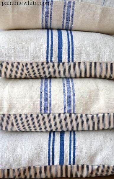 grain sack cushions