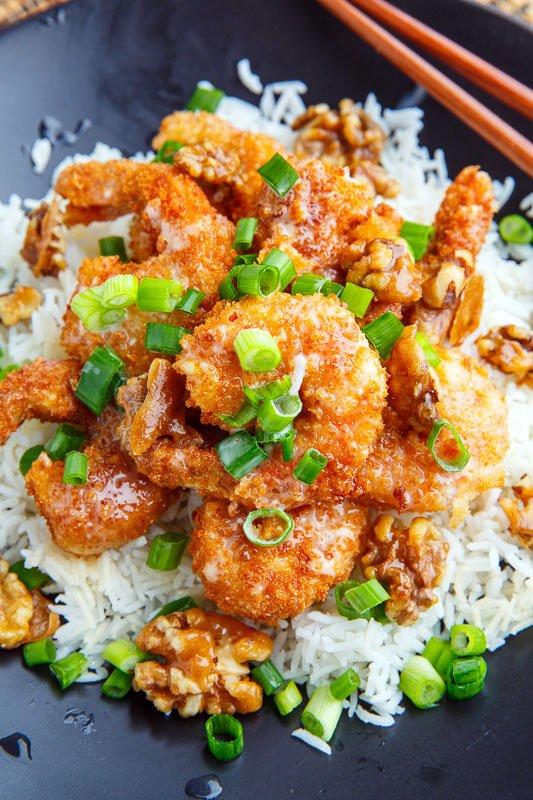 honey walnut shrimp in non stick pan