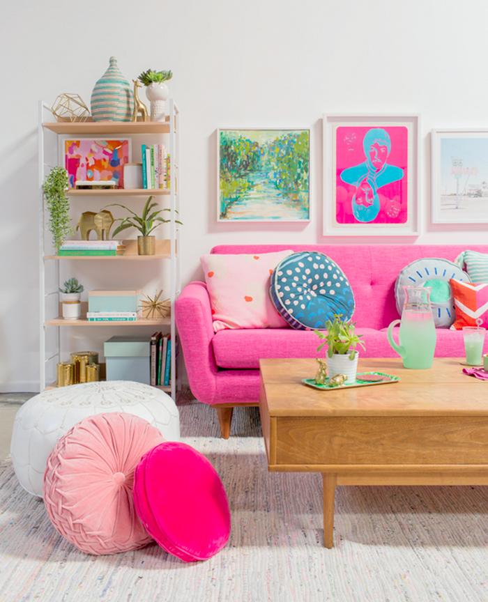 pink sofa and living room decor