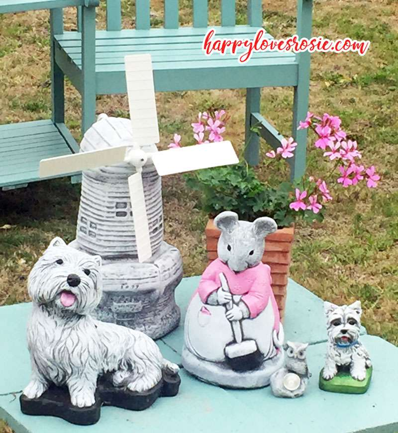 mouse and dog garden ornaments