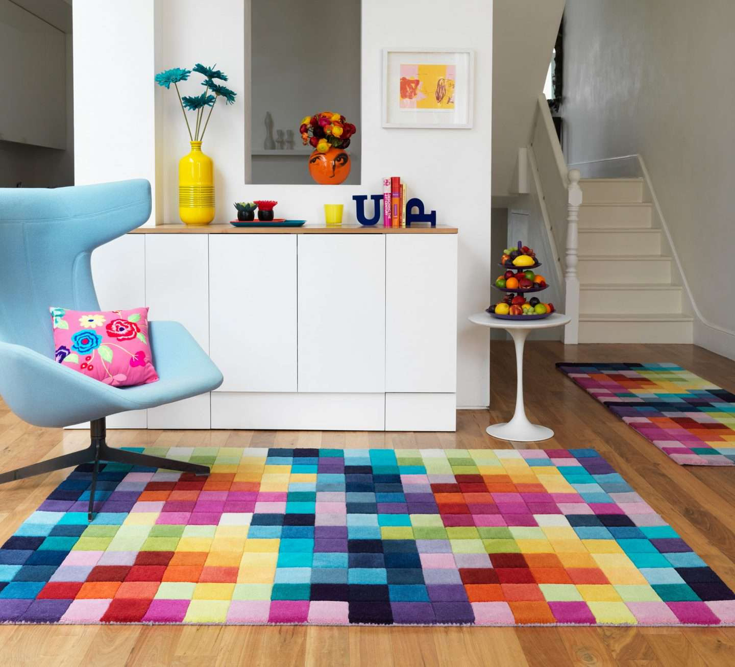 Colourful rug in hall