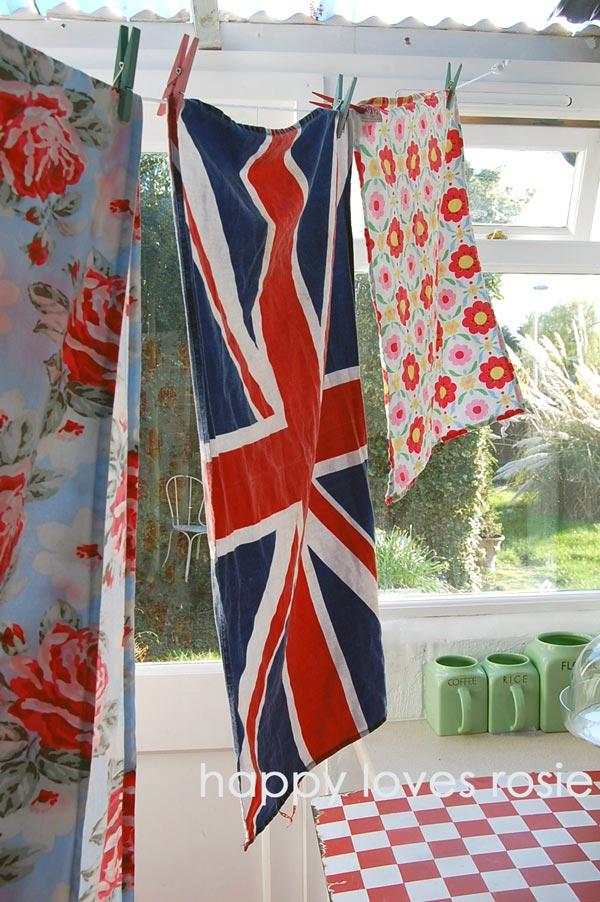 vintage washing line indoors